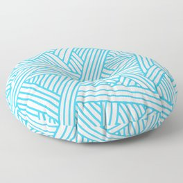 Abstract Teal & white Lines and Triangles Pattern - Mix and Match with Simplicity of Life Floor Pillow