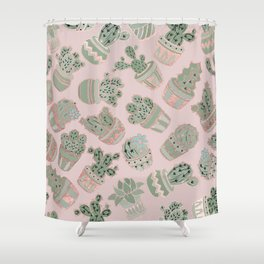 Blush pink mint green rose gold cactus floral Shower Curtain