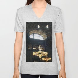 Hagia Sophia Decorated Dome and Ottoman Chandeliers Unisex V-Neck