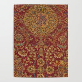 Boho Funky III // 16th Century Distressed Red Green Blue Flowery Colorful Ornate Rug Pattern Poster