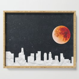 Blood Moon Over Los Angeles Skyline-Paper Texture Serving Tray
