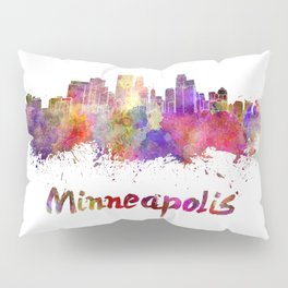 Minneapolis skyline in watercolor Pillow Sham