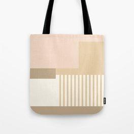 Sol Abstract Geometric Print in Tan Tote Bag