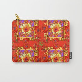 PATTERNED  RED & GOLD ART DECO ORANGE-RED POPPIES Carry-All Pouch