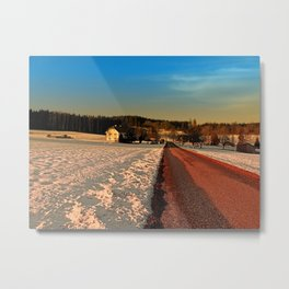 Country road through winter wonderland | landscape photography Metal Print