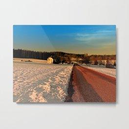 Country road through winter wonderland   landscape photography Metal Print