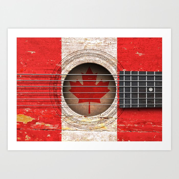 Old Vintage Acoustic Guitar With Canadian Flag Art Print By Jeffbartels