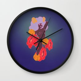 Horned Girl with Flowers Wall Clock