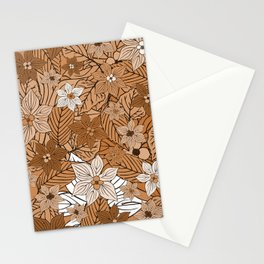 Autumn mood with flowers and leaves in brown and beige romantic illustration Stationery Cards