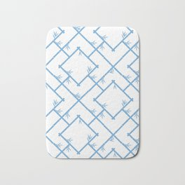 Bamboo Chinoiserie Lattice in White + Light Blue Bath Mat