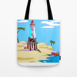 A Lighthouse on the Lazy, Sunny Beach with Palm Trees Tote Bag