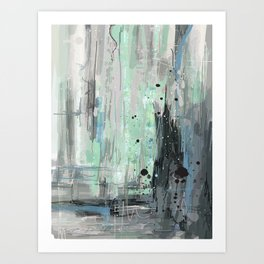 Bleu grey Abstract Art Print