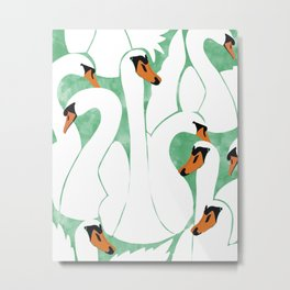 White Calm Was Born Into A Swan #painting Metal Print