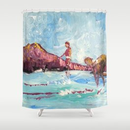 Surfriders Waikiki  Shower Curtain