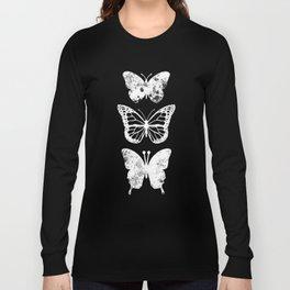 Butterflies Three White Design Clothes Women Long Sleeve T-shirt