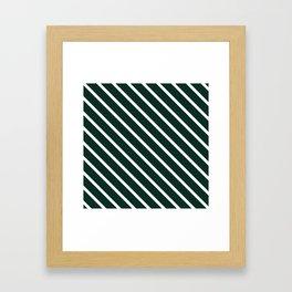 Deep Forest Diagonal Stripes Framed Art Print
