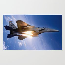 f-15 jet launching missile Rug