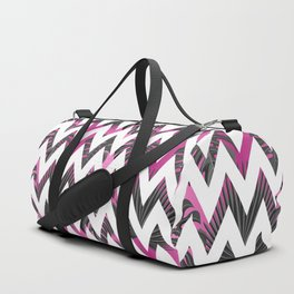 Abstract pink gray white chevron tropical monster leaves Duffle Bag