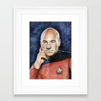 picard Framed Art Prints featuring Captain Picard by Olechka