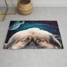 Space Planets and Pekingese Dog Rug