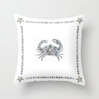crab Throw Pillows featuring Crab by loverocksme