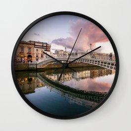 Pink Cloud over Ha'penny Bridge Wall Clock