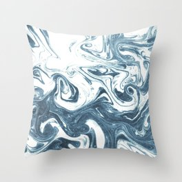 Marble swirl suminagashi minimal ocean waves watercolor ink marbled japanese art Throw Pillow
