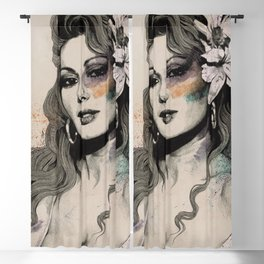 Edwige (street art sexy portrait of Edwige Fenech) Blackout Curtain
