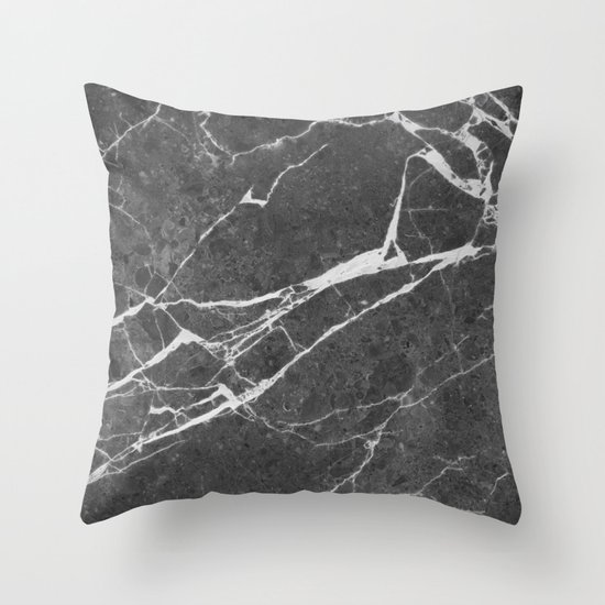 Matte black marble Throw Pillow by Santo Sagese Society6