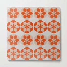 Mandala Flowers - orange and beige Metal Print