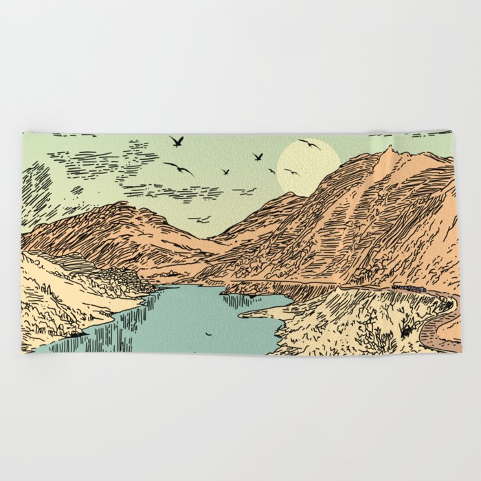 Mountain, Train & Lake Beach Towel