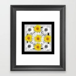 Decorative B&W Yellow-White Sunflowers Framed Art Print