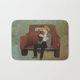 Rooster man and his pick up truck Bath Mat