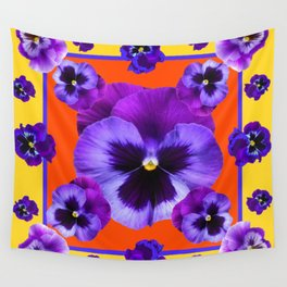 YELLOW-SAFFRON PURPLE PANSIES GARDEN  PATTERN MODERN ART Wall Tapestry