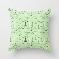 anchors Throw Pillows featuring Anchors by Meredith Jensen
