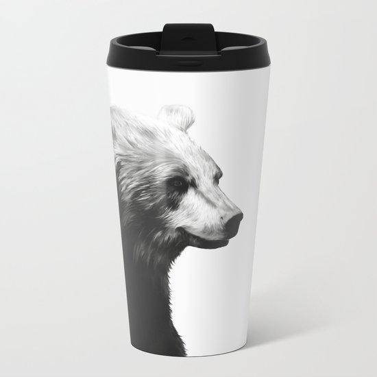 Bear // Calm (Black + White) Metal Travel Mug