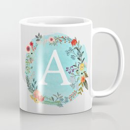 Personalized Monogram Initial Letter A Blue Watercolor Flower Wreath Artwork Coffee Mug