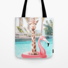 Giraffe in a swimming pool Tote Bag
