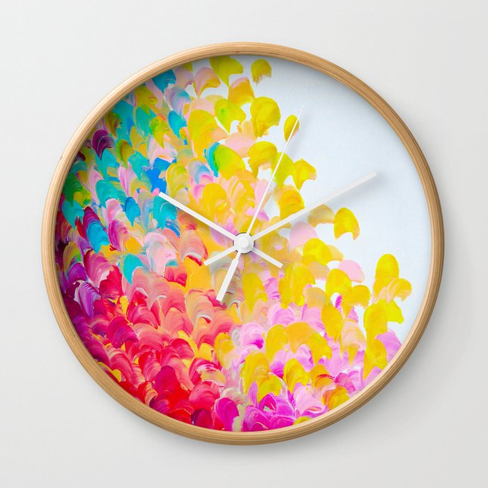 CREATION IN COLOR - Vibrant Bright Bold Colorful Abstract Painting Cheerful Fun Ocean Autumn Waves Wall Clock