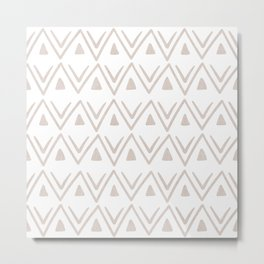 Etched Zig Zag Pattern in Tan Metal Print