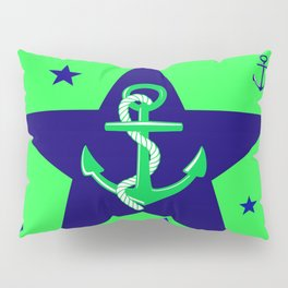 Navy Anchor On Lime Background Pillow Sham