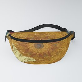 Magical fire mandala and gold butterfly Fanny Pack