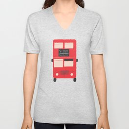 Red Double Decker Bus  Unisex V-Neck