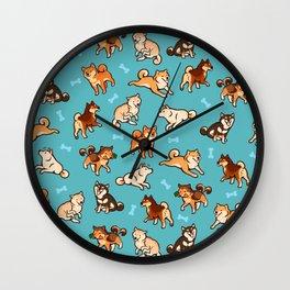 shibas in blue Wall Clock