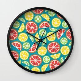 Vitamin C Super Boost - Citric Fruits on Petroleum Wall Clock