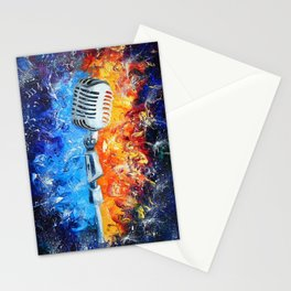 Golden microphone Stationery Cards