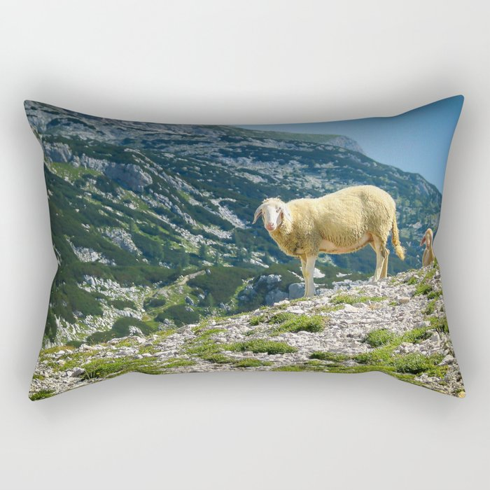 Sheep on the hill Rectangular Pillow