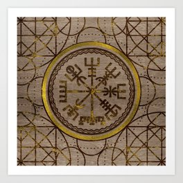 Vegvisir. The Magic Navigation Viking Compass Art Print