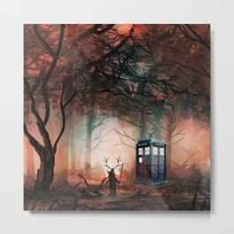 TARDIS IN THE FOREST Metal Print