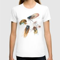 lines T-shirts featuring summer cicadas by Teagan White